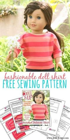 Sewing for American Girl Dolls and other dolls with this free PDF… Ropa American Girl, American Girl Crafts, American Doll Clothes, Sewing Doll Clothes, Girl Doll Clothes, Girl Dolls, Barbie Clothes, Sewing Dolls, Barbie Dolls