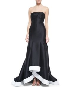Women's Strapless Contrast-Hem High-Low Gown, Black/White - ML Monique Lhuillier from Neiman Marcus on Catalog Spree
