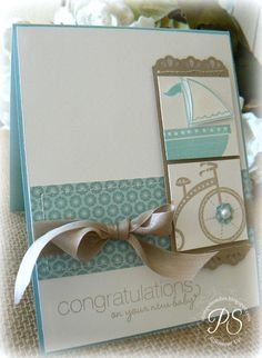 Stampin Up! Baby by Penny Smiley at Stampsnsmiles: Baby Congrats! (Business Card Travel Stampin Up) Boy Cards, Kids Cards, Cute Cards, Stampinup, Beautiful Handmade Cards, Baby Shower Cards, Card Tags, Handmade Baby, Creative Cards