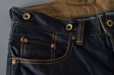 Beauty is in the details: -singleneedle construction, hand felled, no overlock -split waistband construction with duck canvas on inner  -continuous beltloops -cinch back -copper rivets -suspenders  buttons -hidden rivets -hand-sew buttonholes -leather patches by BLOK )