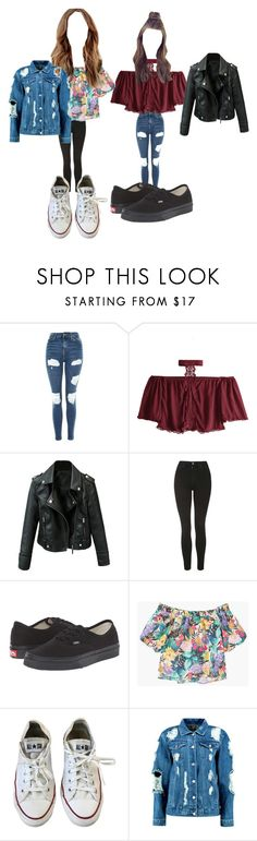 """Untitled #9703"" by lover5sos ❤ liked on Polyvore featuring Topshop, Vans, MANGO, Converse and Boohoo"