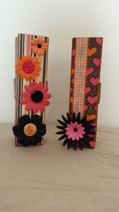 Orange & Pink Extra Large Clothespin Photo/Note Holders