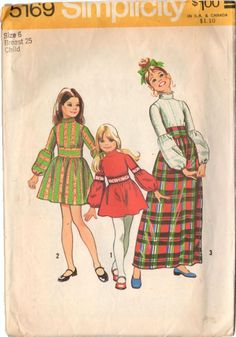 Vintage 1970s Girls Short and Long Dress Sewing Pattern Simplicity 5169 Size 6 Bust 25 Hip 26