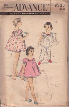 Advance 8225 Girls Size Small Babydoll Pajamas, Shortie Set and Pajamas, P.'s Breast by DawnsDesignBoutique on Etsy Baby Doll Pajamas, Baby Dolls, Sewing Patterns For Kids, Vintage Sewing Patterns, Diy Clothing, Vintage Clothing, Vintage Children, Tween, Vintage Outfits