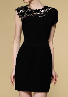 Little black dress with one lace shoulder and a pop of color. Beautiful.