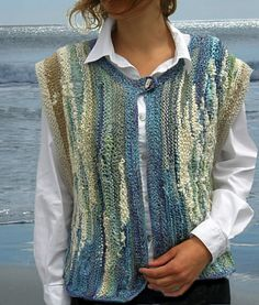 """""""Knit a Beach"""" - Inspired by Nova Scotia shores. Purchase this 41 page Booklet… Knit Vest, Knitted Poncho, Freeform Crochet, Knit Crochet, Vest Pattern, Knitting Accessories, Knit Fashion, Knitting Designs, Crochet Clothes"""