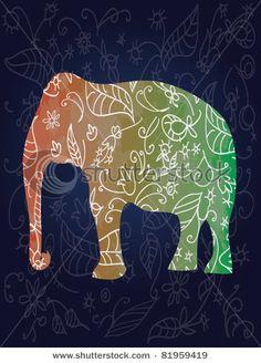 I love the idea of a design inside a figure. Elephant Love, Elephants, Dinosaur Stuffed Animal, Workshop, Doodles, Clip Art, Invitations, Ink, My Love
