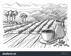 coffee plantation landscape table cup sack in graphic style hand-drawn vector illustration. Village Scene Drawing, Coffee Doodle, Coffee Artwork, Coffee Cup Design, Stock Background, Train Art, Doodle Designs, Landscape Drawings, Pencil Art Drawings