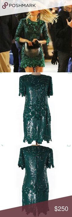 """""""NERVE"""" Movie Emma Roberts Green Dress Authentic Laurence Kazar New York Silk Dress - Woman's Large - Measurements: 34"""" Chest & 37"""" Length - Embellished Details - 100% Silk - """"You Could Mistake This Dress To Be Brand New!!!"""" - Laurence Kazar Now Vintage & You Won't Find This Dress Anywhere Else... Laurence Kazar Dresses Mini"""