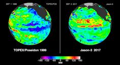 Pacific Ocean sea surface height (SSH) anomalies of what is presently happening to the Pacific Ocean El Niño signal measured with the satellites TOPEX and Jason-3