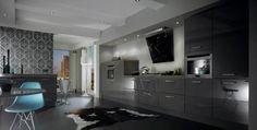 Modern grey kitchen. Anthracite dark grey acrylic gloss kitchen cabinets from Just Click Kitchens