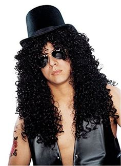 DELUXE BLACK LONG CURLY ROCKER WIG - SLASH-STYLE by Franco -- Awesome products selected by Anna Churchill