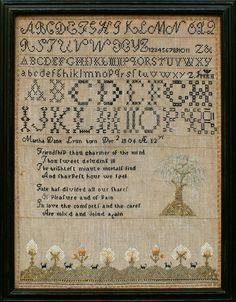 As stitched on to her handsome sampler, Martha Dana Lyon was born on December 2, 1806 and worked this when she was age 12. She was the daughter of Capt. Judah Lyon (1774-1853) and his wife, Mehitable Child (b. 1779) of Woodstock, Connecticut.