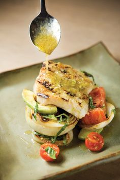 Grouper with Tomato, Avocado, and Grilled Onions with Basil-Lime Vinaigrette -- The Foodies: Chef Chris Hastings Hot and Hot Fish Club : birminghamhomeandgarden Wrap Recipes, Fish Recipes, Seafood Recipes, Cooking Recipes, Healthy Recipes, Healthy Dinners, Fish Dishes, Seafood Dishes, Fish And Seafood