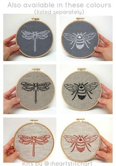 Embroidery Kit PAIR bee embroidery dragonfly by iHeartStitchArt Learn Embroidery, Modern Embroidery, Hand Embroidery Patterns, Embroidery Kits, Cross Stitch Embroidery, Embroidery Designs, Quilts Vintage, Pattern Floral, Embroidery Techniques