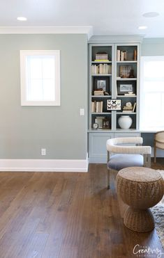 2019 Paint Color Trends and Forecasts Wall and cabinetry color is Sherwin Williams Oyster Bay Basement Paint Colors, Basement Painting, Dining Room Paint Colors, Room Wall Painting, Dining Room Walls, Living Room Colors, Living Room Paint, Living Room Grey, Basement Color Schemes