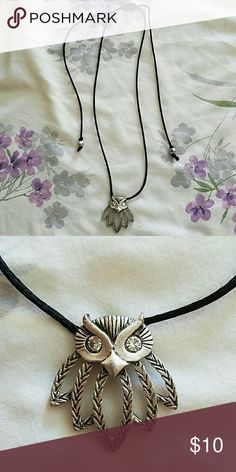 Pretty lariat owl necklace Black cord necklace with an owl pendant. Owl has Crystal eyes...so pretty! Jewelry Necklaces