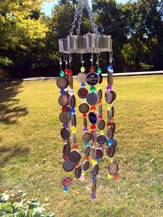 Colorful Bottle Cap Wind Chime  by BottlecapCrafts8 on Etsy, $12.00