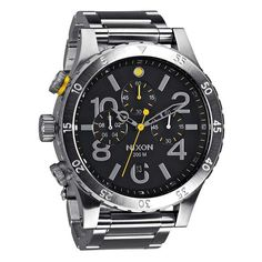 Nixon 48-20 Chrono Black Dial Stainless Steel Quartz Men's Watch A486-000 *** Click on the image for additional details.