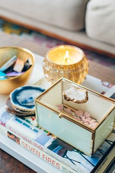 Naturally Luxe holiday accents: geode glass box, votive, and agate coasters