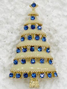 Sapphire Color Blue Crystal Gold Metal Christmas Tree Pin Brooch