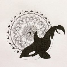 Hand drawn pen and ink Orca / Killer Whale and Mandala by JaymieJarvis on Etsy #blackfish #orca #whale #emptythetanks