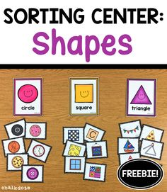 "FREE Shape Sorting Activity This hands-on activity is a fun way to help your children recognize and sort shapes. These cute and colorful cards can be used as a whole class ""circle time"" activity or in Small Group Activities, Preschool Learning Activities, Preschool Curriculum, Hands On Activities, Preschool Activities, Shape Activities For Preschoolers, Preschool Shape Activities, Activities For Children, Preschool Classroom Centers"