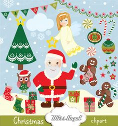 Christmas CLIPART Santa Claus 22 Digital Drawings by MissAngelClipArt