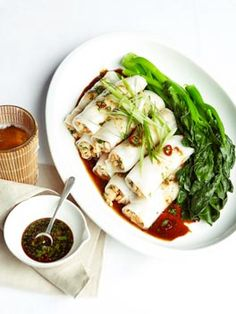 Just waiting for an excuse to make. Steamed prawn rice noodle rolls with chilli, soy and garlic dressing