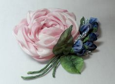Silk Ribbon Rose Pin Brooch by lambsandivydesigns on Etsy, $34.95