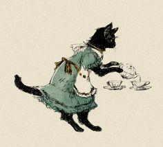 Black cat serving tea - Illustration by Kawashima on Pixiv Art And Illustration, Pretty Art, Cute Art, Arte Peculiar, Image Chat, Bild Tattoos, Photo Chat, Arte Sketchbook, Wow Art