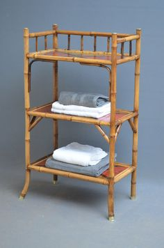 Very practical, Victorian, bamboo stand - étagère, having 3 tiers with lacquered decoration depicting birds and flowers, standing on 4 outswept legs with brass caps. This is a perfect stand for the bathroom but it would also make a good bookstand. Bamboo Furniture, Handmade Furniture, Cheap Furniture, Rustic Furniture, Furniture Making, Luxury Furniture, Furniture Online, Bamboo Shelf, Bamboo Art
