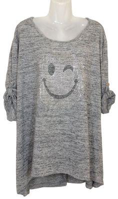 Damen Longshirt mit silbernem Nieten-Smiley, Onesize/geeignet bis Grösse 44