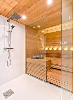 38 Easy And Cheap Diy Sauna Design You Can Try At Home. he prospect of building a sauna in the home may initially sound daunting, but in fact it is a relatively simple project . Saunas, Diy Sauna, Sauna Ideas, Small Bathroom With Shower, Diy Bathroom, Bathroom Ideas, Bathroom Showers, Bathroom Hacks, Gold Bathroom
