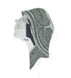Ladies Head Marcasite Brooch €160.00 Marcasite Jewelry, Silver Brooch, Brooches, Sterling Silver, Lady, Brooch