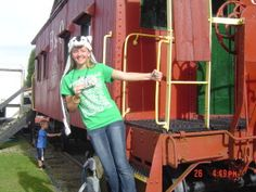 Hayley Jackson on the Caboose Steps at the B&O Depot in Barnesville Ohio.  During the 2015 Pumpkin Festival