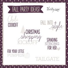 Celebrate the fall season with one of these fun party themes! Pair it with Thirty-One bags, totes, and purses and it's fun for everyone.