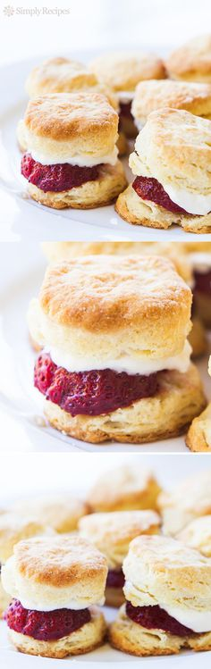 Strawberry Shortcake Sliders ~ Mini strawberry shortcakes, finger food, perfect little single bite servings, great for parties! ~ SimplyRecipes.com