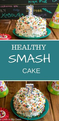 Smash Cake Let your baby have all the fun of their very own smash cake, free of refined sugars and unhealthy fats. via loveinmyovenLet your baby have all the fun of their very own smash cake, free of refined sugars and unhealthy fats. via loveinmyoven Healthy Birthday Cakes, Healthy Cake, Healthy Smash Cakes, Healthy Birthday Cake Alternatives, Smash Cake Recipes, Baby Food Recipes, Baby Food Cake Recipe, Homemade Smash Cake, Food Baby