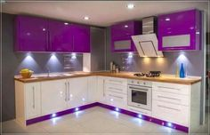 Best 100 modular kitchens designs cabinets for modern home interiors 2018 - YouT. Kitchen Wardrobe Design, Kitchen Room Design, Home Room Design, Modern Kitchen Design, Home Decor Kitchen, Interior Design Kitchen, Purple Kitchen Cabinets, Kitchen Cabinet Interior, Glossy Kitchen