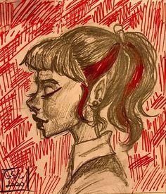 Dark Art Drawings, Art Drawings Sketches, Cute Drawings, Pretty Art, Cute Art, Art Inspo, How To Draw Painting, Painting & Drawing, Grunge Art