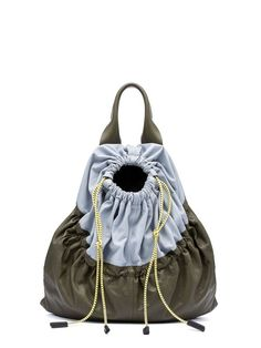 PARKA Bag In Natural Satin Nappa Leather from the Marni Spring Summer 2017 collection. Shop online on the official store and discover the full catalogue - by MARNI Leather Drawstring Bags, Drawstring Backpack, Leather Bags Handmade, Handmade Handbags, Fabric Bags, Nylon Bag, Backpack Bags, Duffle Bags, Messenger Bags