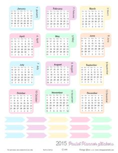 A set of free pastel monthly planner stickers and arrows available for planner organization as well as other papercrafting use. Free for personal use only.