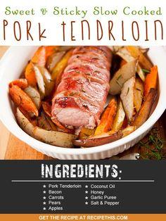 Slow Cooker Recipes | Sweet & sticky slow cooked pork tenderloin