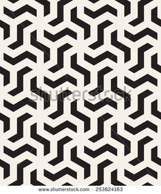 Vector Images, Illustrations and Cliparts: Vector seamless pattern. Repeating abstract background with twisted polygonal elements. Black and white geometric tiles Stencil Patterns, Graphic Patterns, Pattern Art, Pattern Design, Print Patterns, Graphic Design, Vector Pattern, Geometric Tiles, Geometric Designs