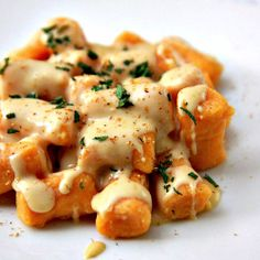 Sweet potato gnocchi and Gouda cheese sauce.