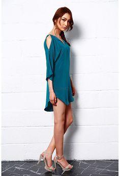 Royal Shine Silk Tunic Dress, Teal