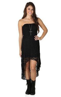 Strapless Lace Dress with Open Knot Bow Back and High Low Hem