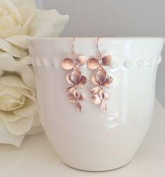Orchidee baumeln Ohrringe Gold Ohrringe Rose von AvaHopeDesigns