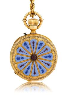 GOLD AND ENAMEL PENDANT WATCH, ca. 1870. Yellow gold 750. Round Lepine case No. 15211, pusher for setting the hands at 1h, the back engraved and enamelled with 12 blue and red segments, the centre set with a tourmaline. Gold dust cover with dedication: Frieda Meister Souvenir de A. Fellmann 1871. White, enamelled dial with black Roman numerals and blued hands. Cylinder movement with crown winder and blued screws, wolf's tooth winding. D 30 mm. With braided chain in gold, L 70 cm.